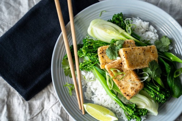 recipe image Crispy Salt and Pepper Tofu with Stir-Fried Greens