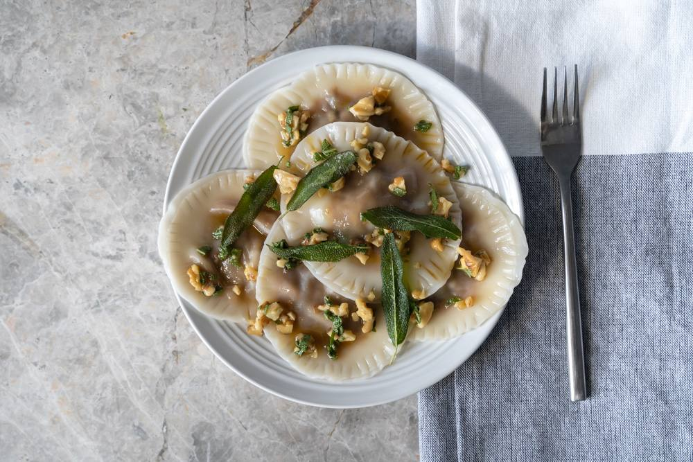 recipe image Pumpkin Ravioli with Sage, Walnuts and Burnt Butter