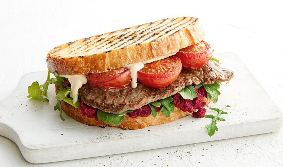 recipe image Steak sandwich with beetroot pesto