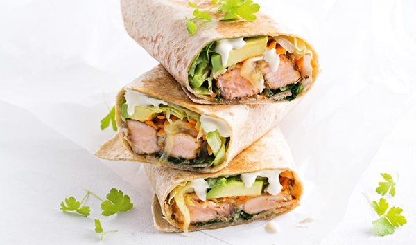 recipe image Toasted salmon burrito